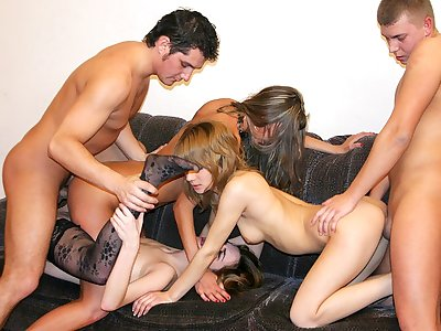 Badass college chicks suck big cocks at hot party