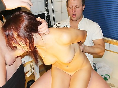 Adorable girl gets two peckers in MMF porn action